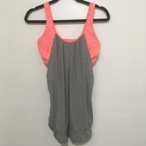PINK GREY LULULEMON TANK BUILT IN BRA
